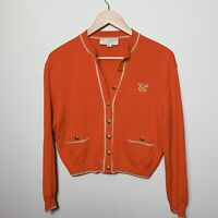St. John Collection Marie Gray Santana Knit Cardigan Red Gold Size 2