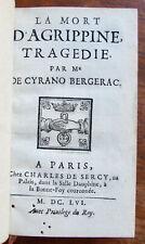 CYRANO DE BERGERAC : LA MORT D'AGRIPPINE TRAGEDIE PARIS SERCY 1656 PLEIN VEAU GL