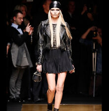 Auth Versace for H&M Runway Balck Silk Pleated Skirt Metal Tip Gold Sz: XS / 34