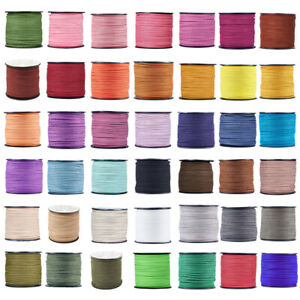 98.43yards/roll Flat Faux Suede Lace Cord Crafting Thread Beading String 3x1.4mm