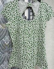 ( Ref 363 ) Next - Size 8 - Ladies Green & White Spotted Cap Sleeve Summer Top