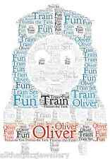Personalised Word Art train tank son family  birthday child gift card