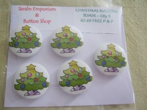 Wooden Buttons!  XMAS THEME!! Cartoon Tree - 30mm wide & Qty 5  **NEW**
