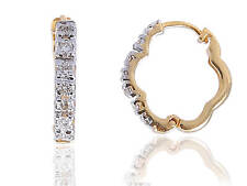 Classy 0.26 Cts Natural Diamonds Hoop Earrings In Solid Hallmark 14K Yellow Gold
