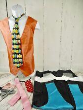 Lot of 4 Mens Colored Vests & Bow Ties Hankies Ties Clown Theater Costume XL