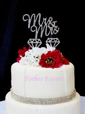 Set of 3 Silver Rhinestone Mr & Mrs Rhinestone Diamonds Cake Topper Wedding Cake