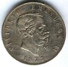 Italia 5 Liras 1871 M Emanuel II plata @ Bella @