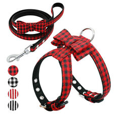 Bow Tie Dog Collar with Leash Set Classic Plaid Leather Adjustable Puppy Collar