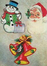 3 DIECUTS Christmas BLUEBIRD WITH BELLS SANTA SNOWMAN MOUSE Beistle VINTAGE