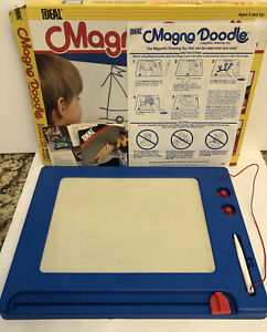 Vintage 1986 Ideal Magna Doodle Magnetic Drawing Toy & Instructions W/Orig. Box