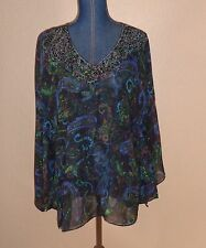 Chico's 100% Silk Paisley Beaded Ruched Sheer Tunic Cover Up Top Size S/M