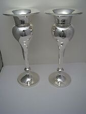 PAIR STERLING SILVER CANDLESTICKS VASES Robert F Mosley Sheffield England ca1911