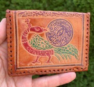 Vintage Leather Change Purse Coin Purse Pouch Snap Closure Bird Design Handmade