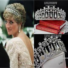 Diana Crown Pageant Tiaras Wedding Bridal Pearl Princess Hair Jewelry Accessory