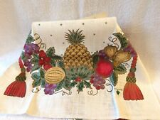 New listing Winterthur Reproductions Bountiful Christmas Linen Towel, Nwt, Pineapple & Fruit