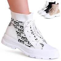 Damen Plateau Sneaker Turnschuhe Hoch High Top Freizeit Derby Strick