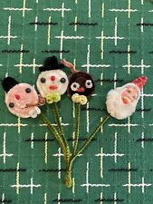 4 Vintage  Chenille Pixie Santa SNOWMAN Christmas Package Tie Picks Japan