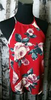 Abercrombie and Fitch Alicia Tank Floral Vibrant Red Print high neck Size Med