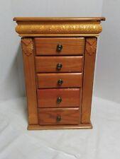 Jewelry armoire 5 drawer organizer burlwood oak finsh