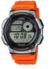 Casio Men's Orange Watch, 10 Year Battery Resin World Time, AE1000W-4B