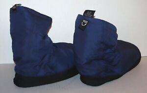 Sierra Designs down booties camp slipper traction bottom dark blue LG NWOT