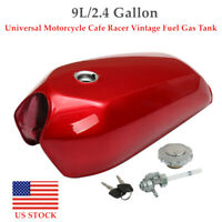 9L/2.4Gallon Motorcycle Cafe Racer Vintage Fuel Gas Tank&Cap Switch Universal