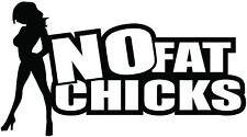 NO FAT CHICKS JDM funny round shock Car Laptop, Glass Vinyl Sticker Decal