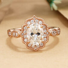 1.40 CTTW Diamond Vintage Classic Engagement Wedding Ring Solid 14k Rose Gold