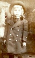 1910 Pretty Young Girl in Wool Coat with 6 Large Buttons Child RPPC Postcard JG