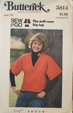 Vtg Butterick Sew & Go pattern 3814 Misses' Pullover Top size 14 bust 36