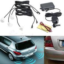 Parking 4 Sensors Car Reverse Backup Rear Buzzer Radar System Sound Alarm White
