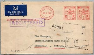 GP GOLDPATH: BURMA COVER 1955 AIR MAIL REGISTERED LETTER _CV786_P26