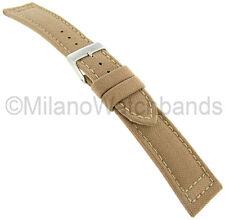 18mm Hadley Roma Padded Stitched Genuine Cordura Canvas Sand Tan Watch Band 850