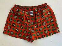 "Retro 1995 MITCH DOWD Mr Men ""Mr No"" Red Satin Boxer Shorts - Size XL"