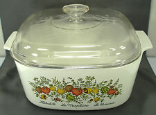 CORNING WARE SPICE OF LIFE 5 Qt. SQUARE CASSEROLE (A-5-B) w/ GLASS LID (A-12-C)