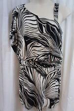 Sandra Darren Dress Sz 10 Tan Black Combo Sleeveless Kimono Sleeve Party Dress