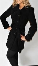 New Womens Kenneth Cole Wool Blend Trench Coat Belted Small Black Belted