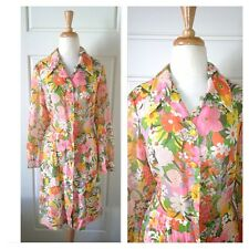 Vintage Dress Shirt Dress Floral Mod 50'S 60'S
