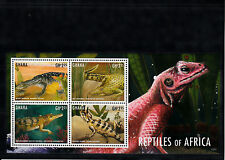 Ghana 2013 MNH Reptiles of Africa I 4v M/S Lizards Crocodiles Agama Monitor
