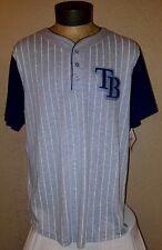 NEW Majestic MLB Tampa Bay Rays Gray & White Striped Jersey Shirt Mens Large NWT