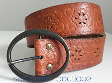 American Eagle Outfitters HIPPIE Floral Embossed BOHO Wide Tan Leather Belt S