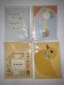 (4) Hallmark Baby Shower/Girl/Boy/Newborn/Duck/Bear/Balloon Greeting Cards