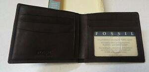 Fossil Soft Genuine Leather Men's Brown I.D. Duofold Wallet