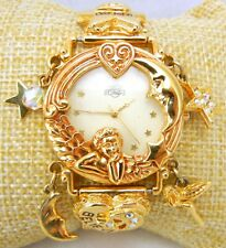 Vtg KIRKS FOLLY Ladies Watch Gold DREAM BELIEVE Angel Charms Crystal Heart Star