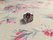 New OR PAZ Sterling 1.50 ct PEAR Tear Shaped AFRICAN AMETHYST Ring ISRAEL Size 9