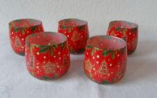 5 Duftkerzen im Weihnachts-Glas, unbenutzt, je 8 cm