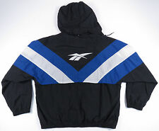 VTG 90S REEBOK BLACK & BLUE BIG LOGO HOODED FULL ZIP WINDBREAKER JACKET EUC XL