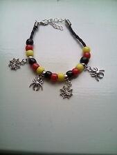 spider charms & bead bracelet