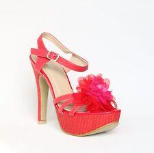 Plataforma con tiras sandalias 39 rojo pumps tacón alto stilettos Shoes xw9041.