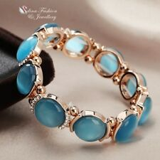 18K Rose Gold Filled Simulated Opal Round Stylish Ocean Blue Stretch Bracelet